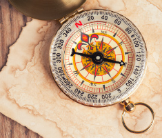 compass on old parchment